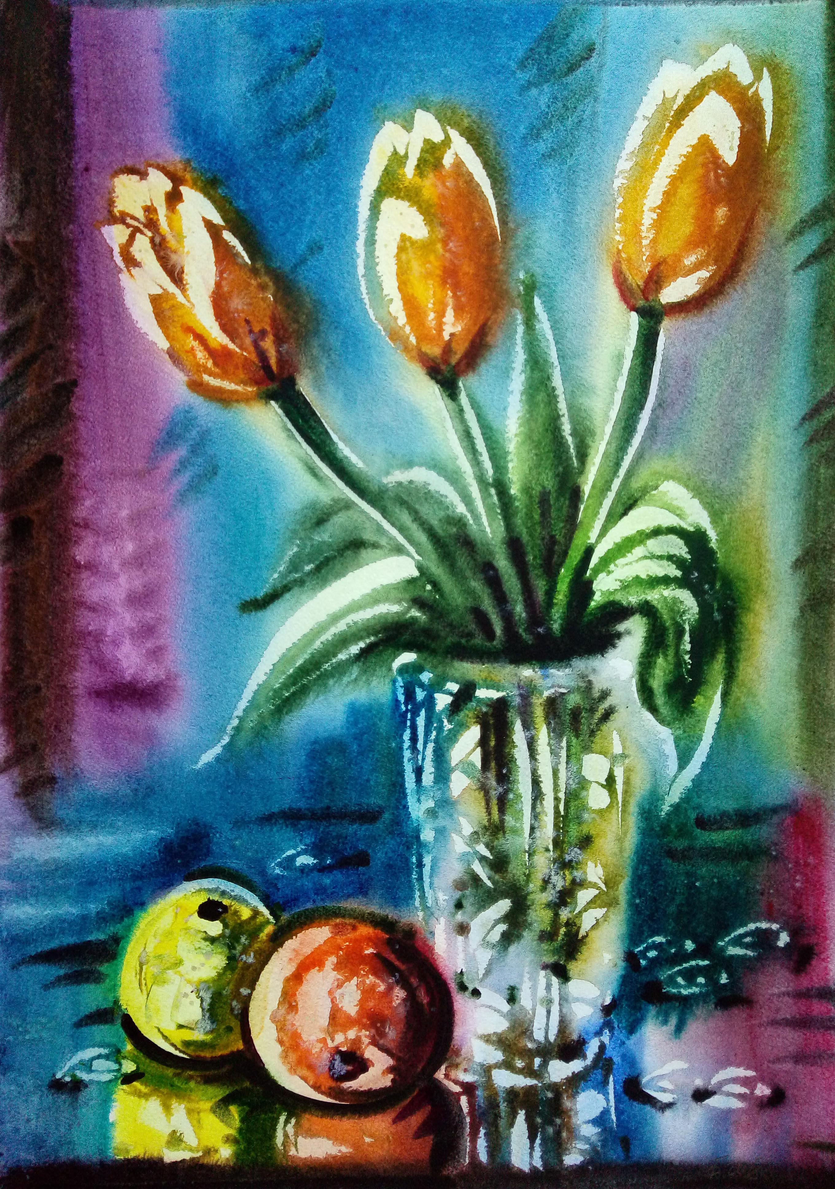 Плоды и тюльпаны